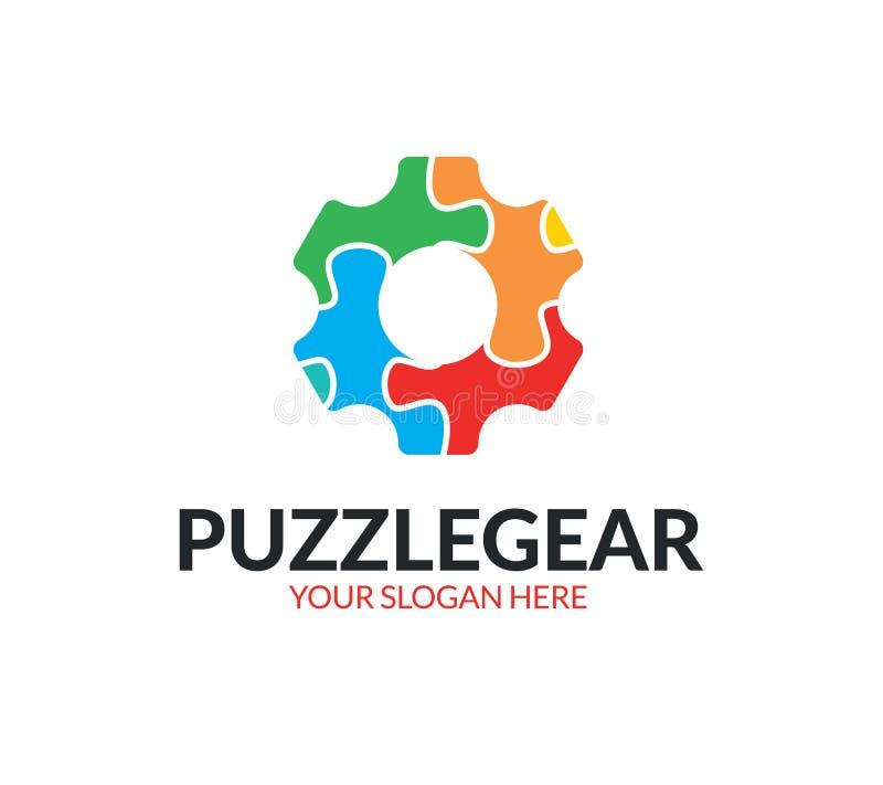 Logo dell'ingranaggio di puzzle illustrazione vettoriale