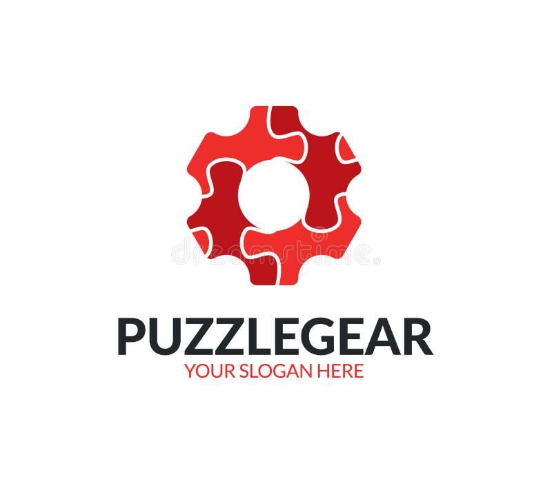 Logo dell'ingranaggio di puzzle illustrazione di stock
