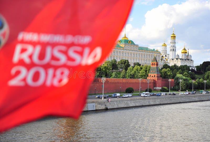 Logo dell'insieme della coppa del Mondo Russia 2018 e di Cremlino della FIFA, Mosca fotografie stock libere da diritti