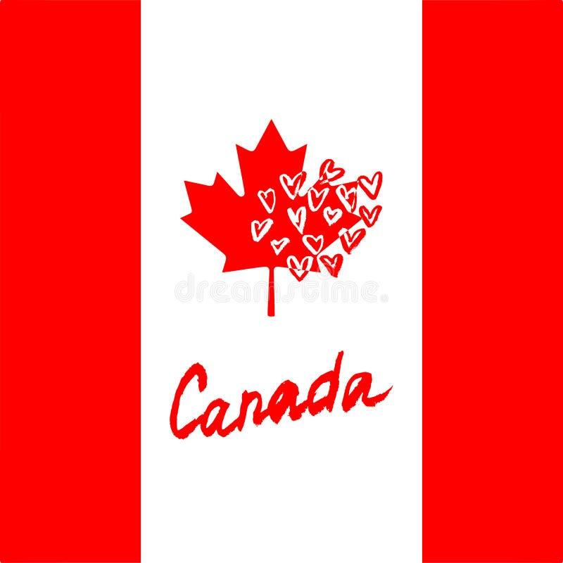 Logo dell'iscrizione del Canada con l'elemento isolato Disegnato a mano illustrazione di stock