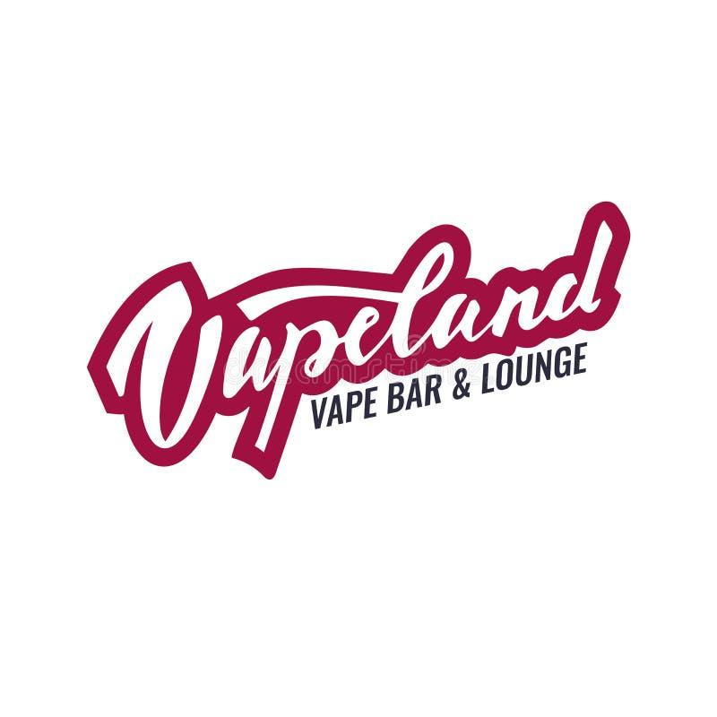 Logo dell'iscrizione di Vapeland per il negozio, la barra ed il salotto del vape Può essere usato per la stampa, l'etichetta, l'e illustrazione vettoriale