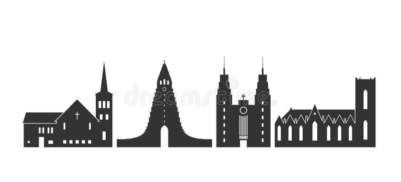 Logo dell'Islanda Architettura islandese isolata su fondo bianco illustrazione vettoriale