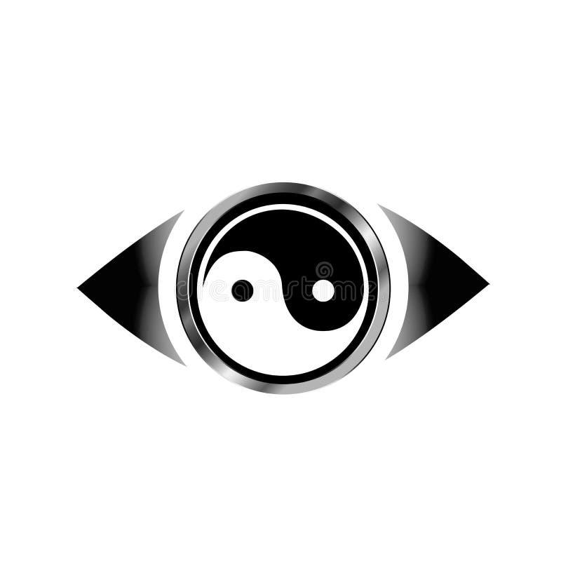 Logo dell'occhio di visione con il simbolo di armonia illustrazione di stock