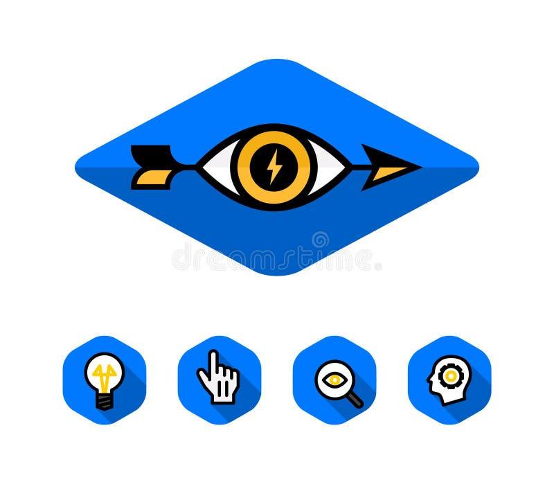 Logo dell'occhio e della freccia Logo ed icone di vettore Stile corporativo, insieme L'immagine è isolata su fondo bianco Pubblic illustrazione di stock