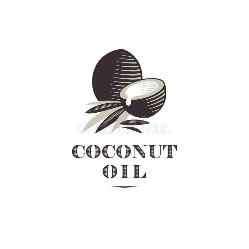 Logo dell'olio di cocco Cochi maturi e mezze noce di cocco e foglie con le lettere illustrazione vettoriale