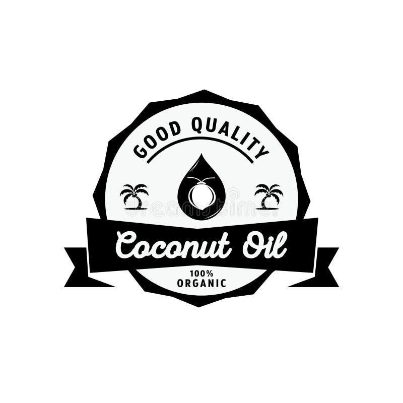 Logo dell'olio di cocco con goccia dell'olio illustrazione di stock