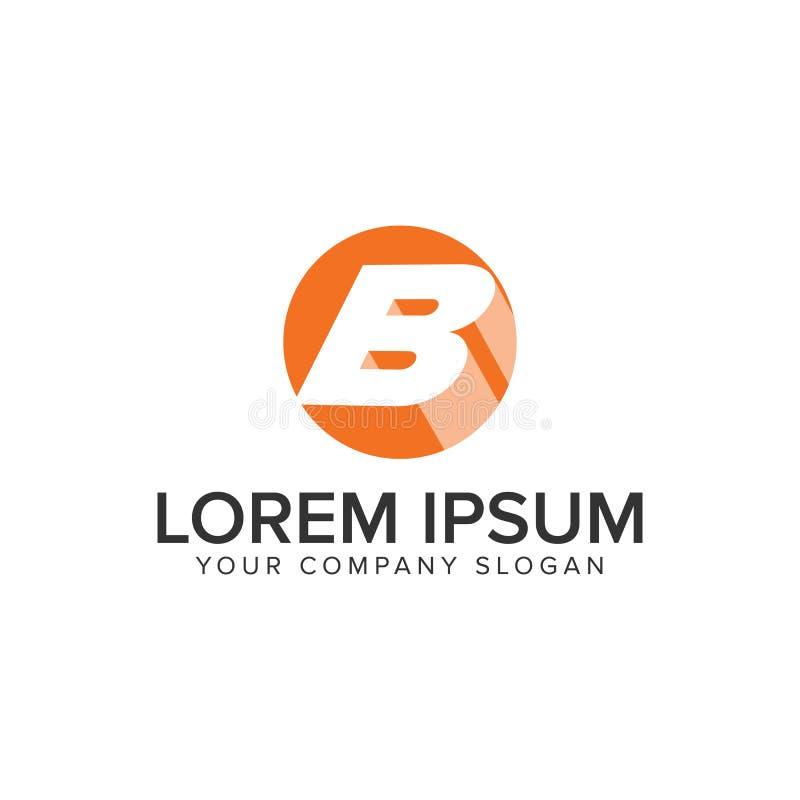 Logo dell'ombra del cerchio della lettera B modello negativo di concetto di progetto dello spazio Completamente editable royalty illustrazione gratis