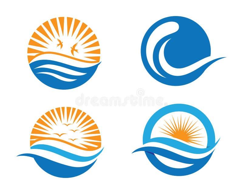 Logo dell'onda della spiaggia dell'oceano royalty illustrazione gratis