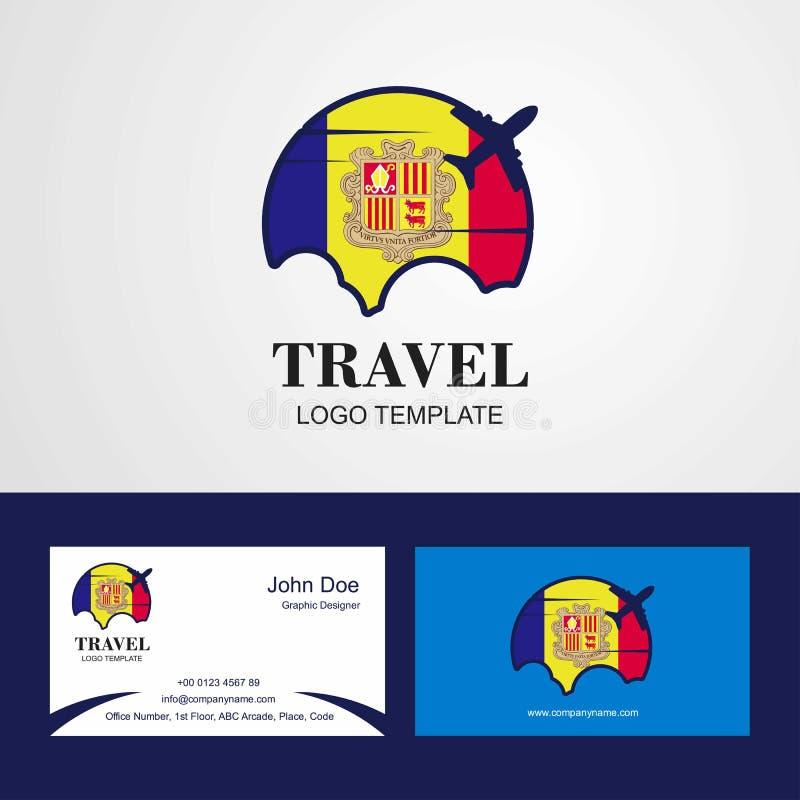 Logo della bandiera dell'Andorra di viaggio e progettazione del biglietto da visita royalty illustrazione gratis