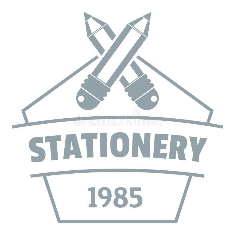 Logo della cancelleria di istruzione, stile grigio semplice illustrazione di stock