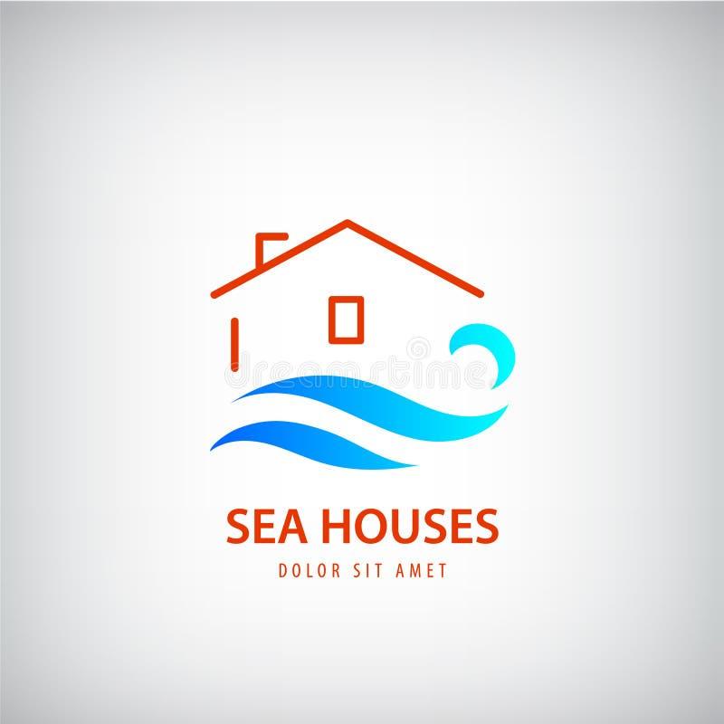 Logo della casa di vettore con l'onda blu Affitto vicino al mare feste, segno della spiaggia illustrazione di stock