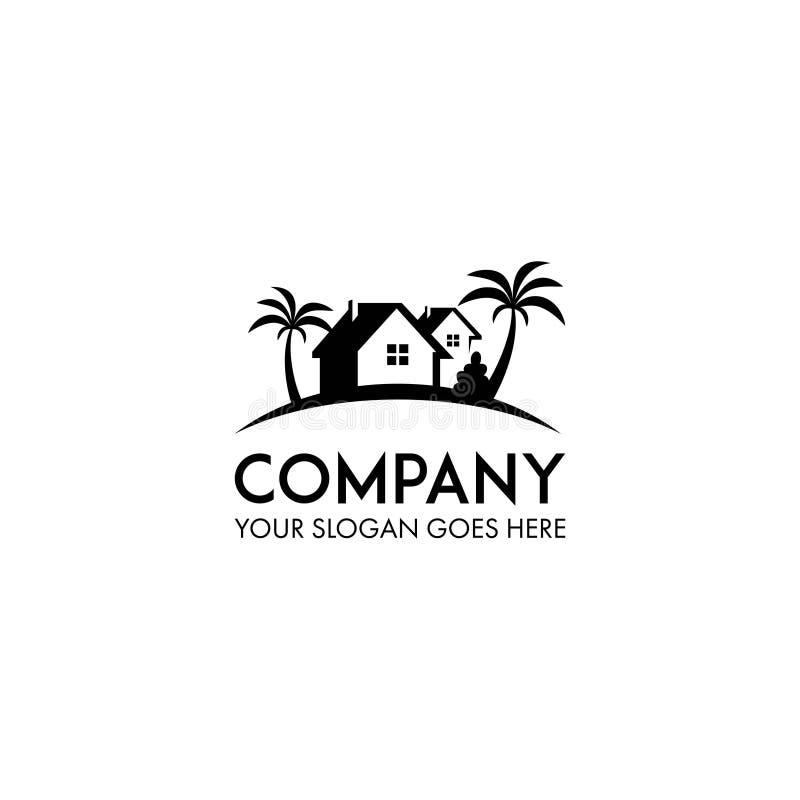 Logo della casa della spiaggia illustrazione di stock