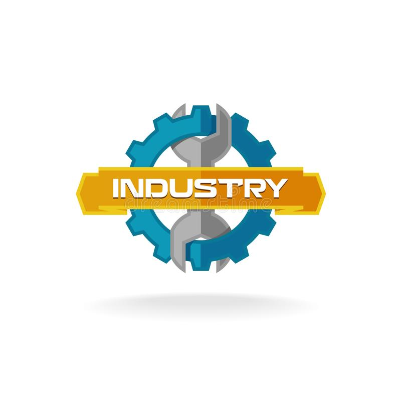 Logo della chiave e dell'ingranaggio royalty illustrazione gratis