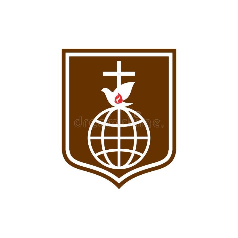 Logo della chiesa L'incrocio di Gesù, del globo e della fiamma è un simbolo dello Spirito Santo Schermo di fede royalty illustrazione gratis