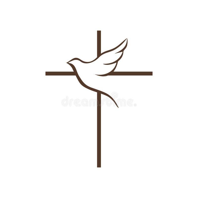 Logo della chiesa L'incrocio di Jesus Christ e della colomba di volo è un simbolo dello Spirito Santo illustrazione vettoriale