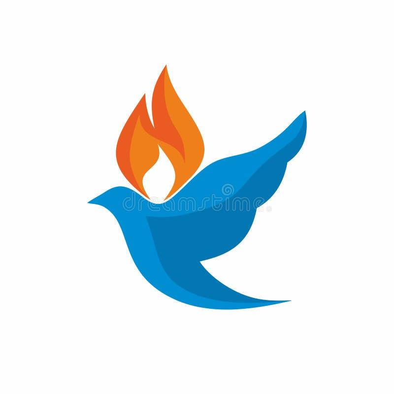 Logo della chiesa La colomba e la fiamma sono simboli dello Spirito Santo illustrazione di stock
