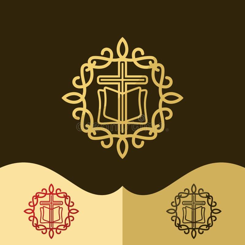 Logo della chiesa Simboli cristiani L'incrocio di Gesù, la bibbia - parola santa del ` s di Dio, modelli eleganti illustrazione di stock