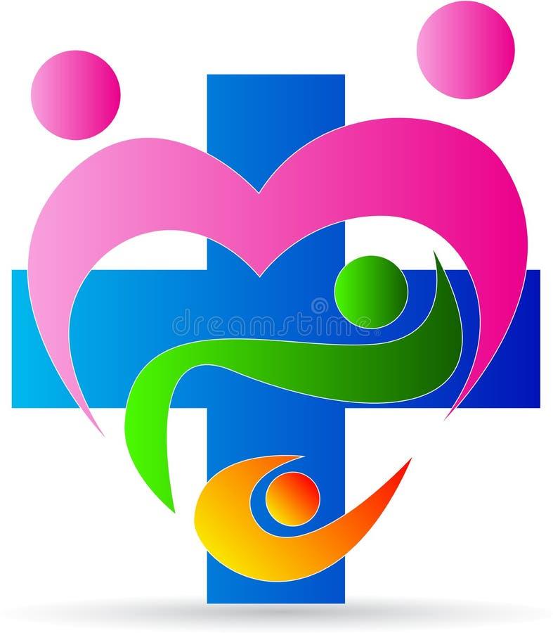 Logo della clinica di cura del cuore della famiglia royalty illustrazione gratis