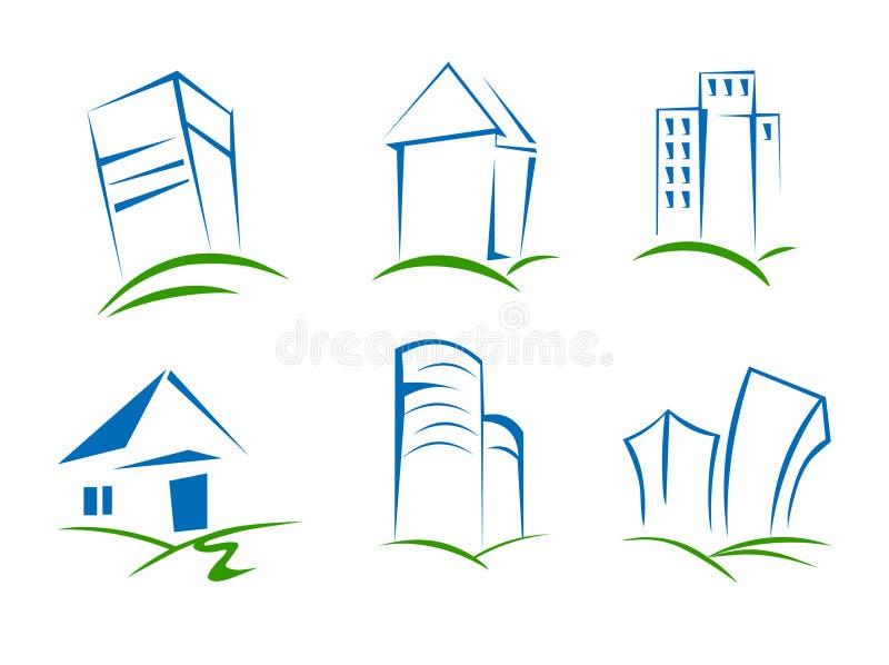 Logo della costruzione e della Camera Insieme del vettore delle icone di logo della costruzione illustrazione di stock