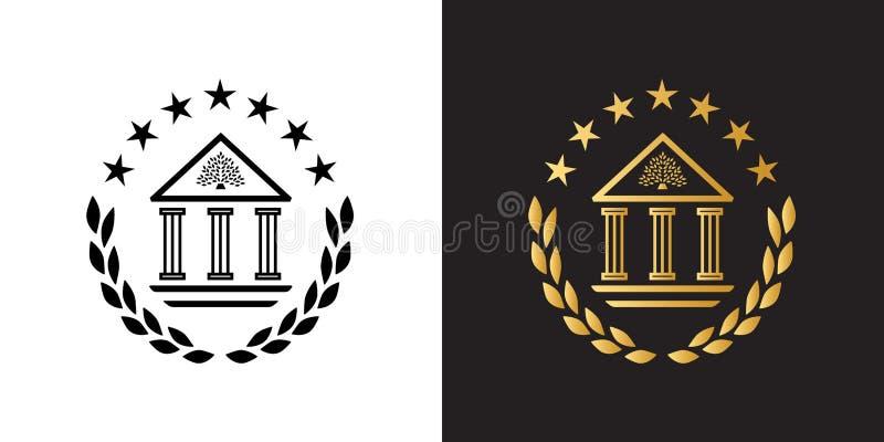 Logo della cresta con la costruzione dell'accademia, la corona dell'alloro e le stelle classiche illustrazione di stock