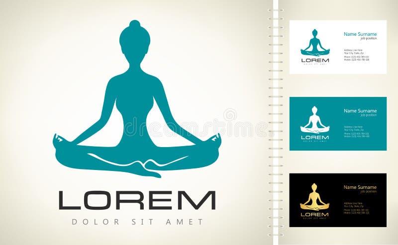 Logo della donna di meditazione Vettore di posa di yoga Posa di yoga di Lotus - Padmasana illustrazione vettoriale