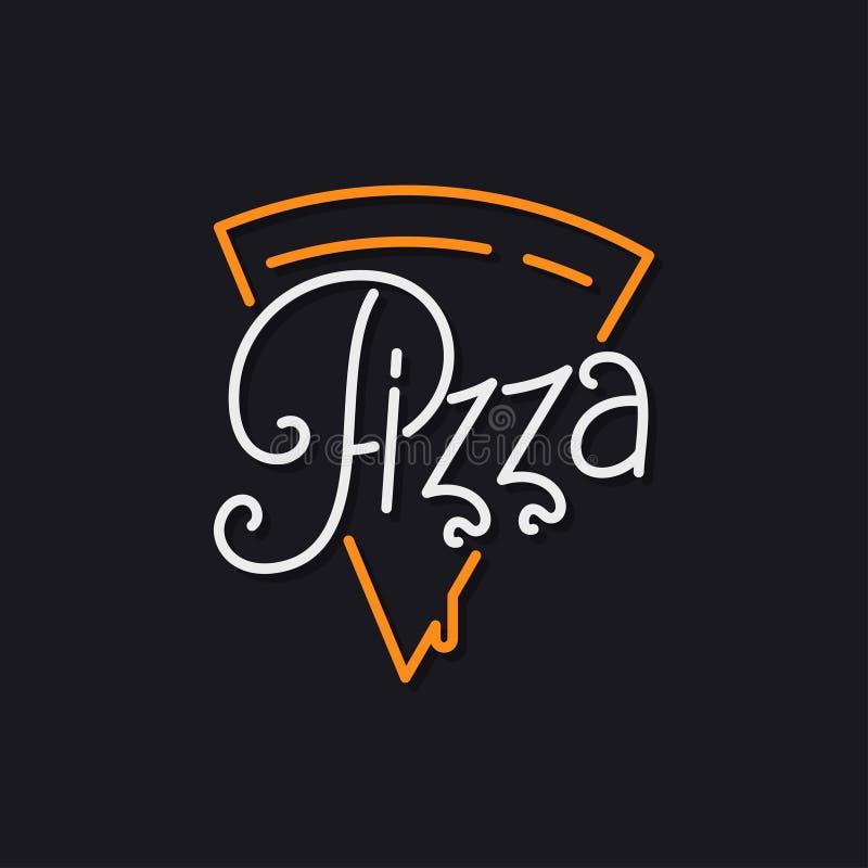 Logo della fetta della pizza Iscrizione della pizza sul nero royalty illustrazione gratis