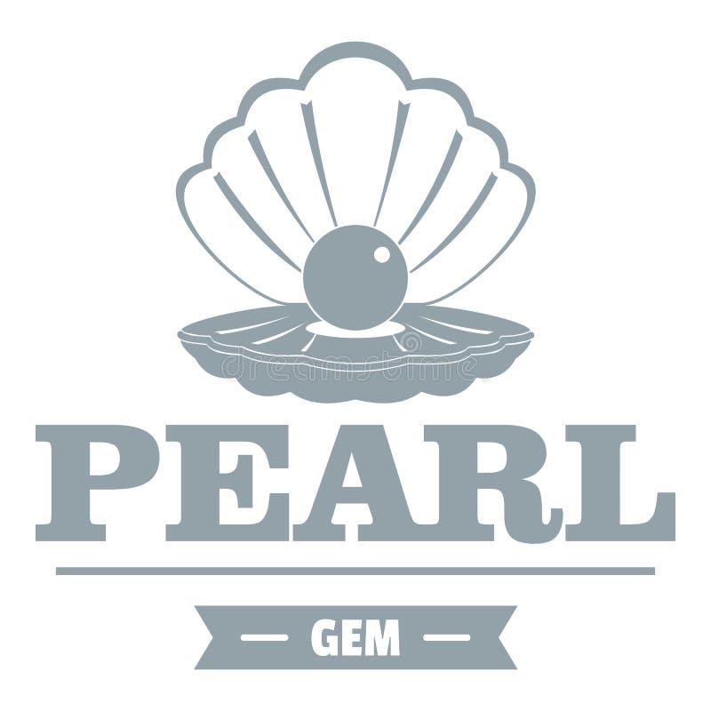 Logo della gemma della perla, stile grigio semplice illustrazione vettoriale