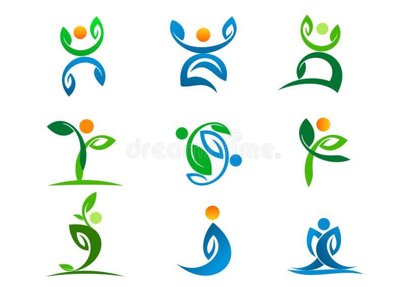 Logo della gente, benessere della pianta, attivo di yoga della foglia ed insieme dell'icona di progettazione di simbolo della nat illustrazione di stock