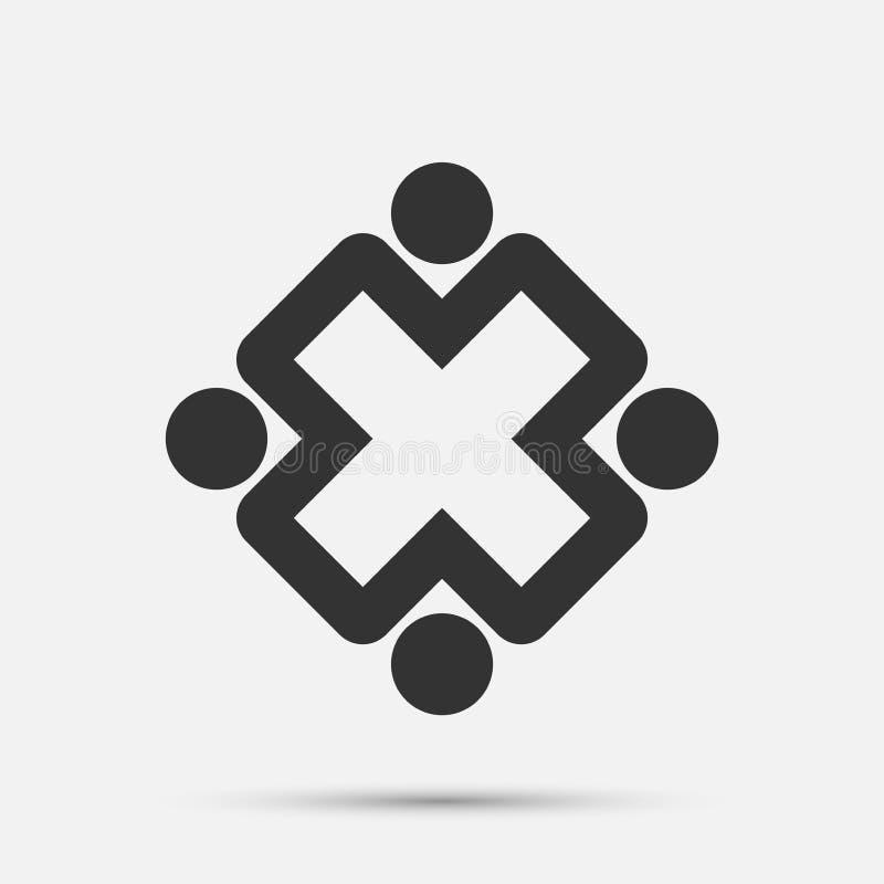 Logo della gente della sala riunioni un gruppo di quattro persone nel cerchio illustrazione vettoriale