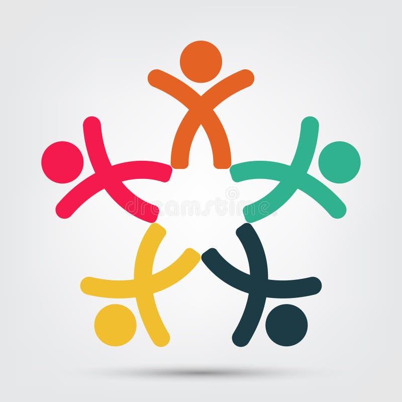 Logo della gente della sala riunioni un gruppo di quattro persone nell'isolato del cerchio su fondo bianco, illustrazione di vett illustrazione vettoriale