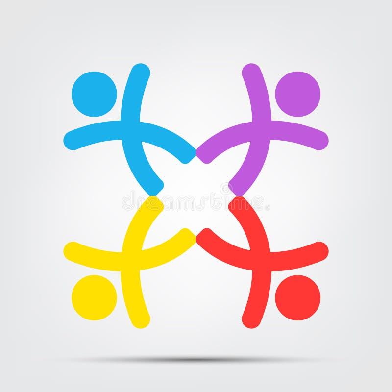 Logo della gente della sala riunioni un gruppo di quattro persone nell'isolato del cerchio su fondo bianco, illustrazione di vett royalty illustrazione gratis
