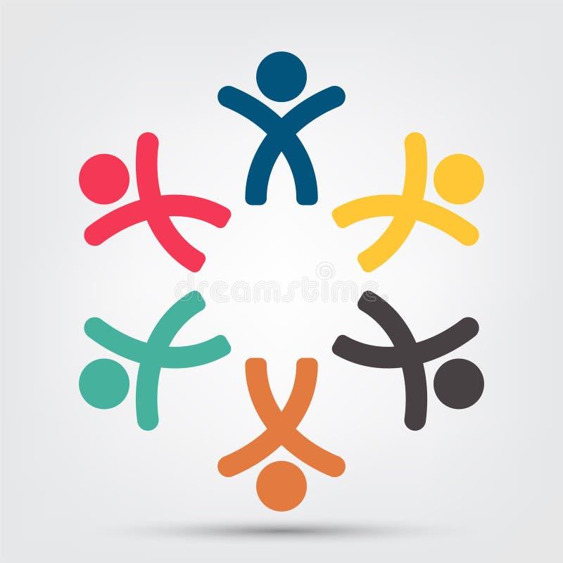logo della gente della stanza di lavoro di squadra di riunione un gruppo di sei persone nell'isolato del cerchio su fondo bianco, royalty illustrazione gratis