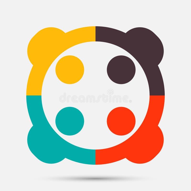 Logo della gente Un simbolo di lavoro di squadra del gruppo di quattro persone Illustratore di vettore illustrazione vettoriale