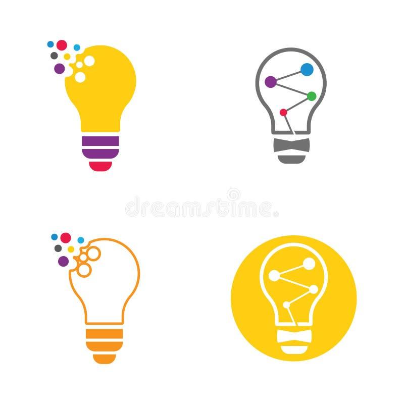 Logo della lampadina e modello di ilustration di vettore di simbolo illustrazione di stock