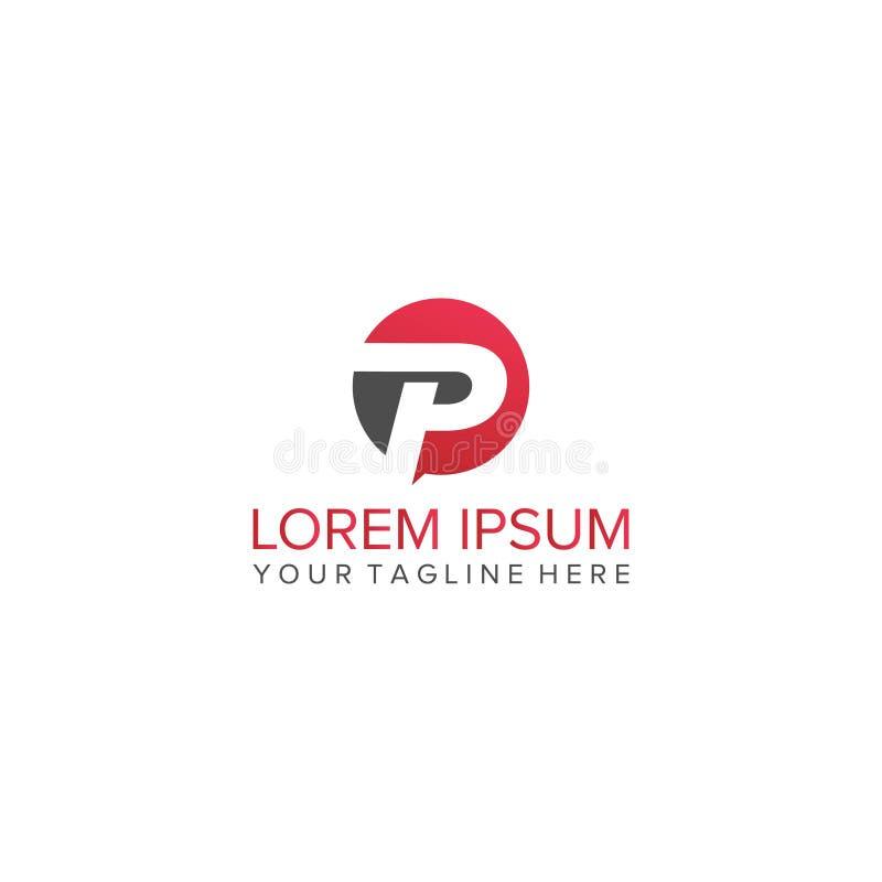 Logo della lettera di P con il cerchio illustrazione di stock