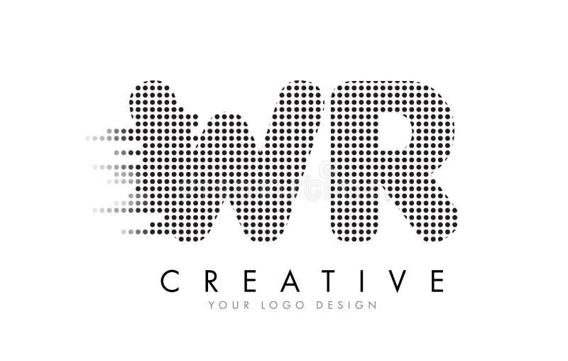 Logo della lettera di WR W R con i punti e le tracce neri illustrazione vettoriale