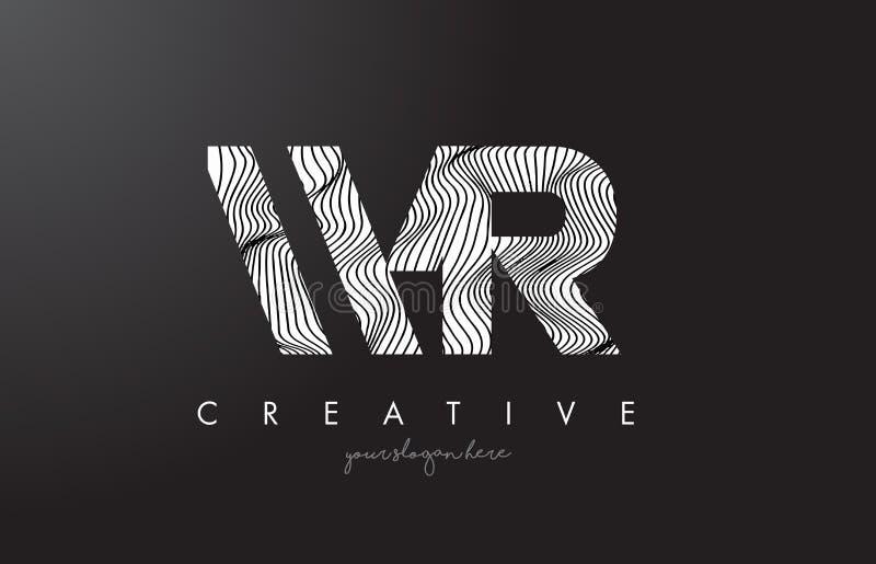 Logo della lettera di WR W R con le linee vettore della zebra di progettazione di struttura illustrazione vettoriale
