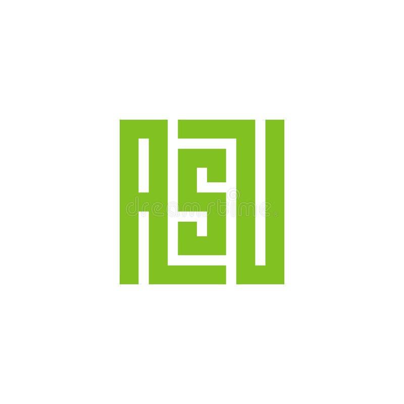 Logo della lettera iniziale ASU Progettazione quadrata minima dell'icona di forma - vettore royalty illustrazione gratis