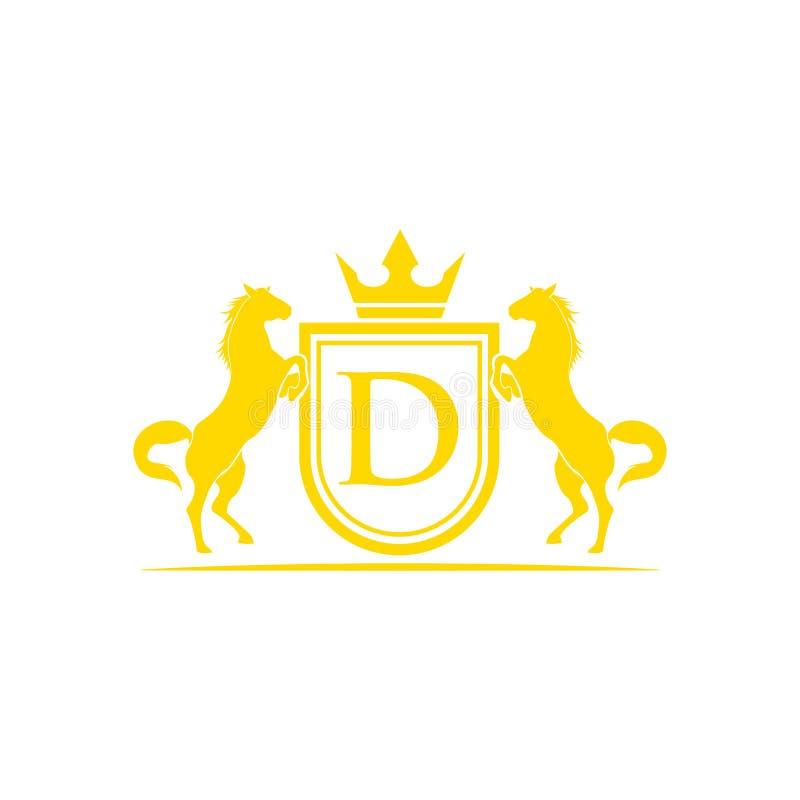Logo della lettera iniziale D Vettore di progettazione di logo di marca del cavallo Retro cresta dorata con lo schermo ed i caval immagini stock libere da diritti