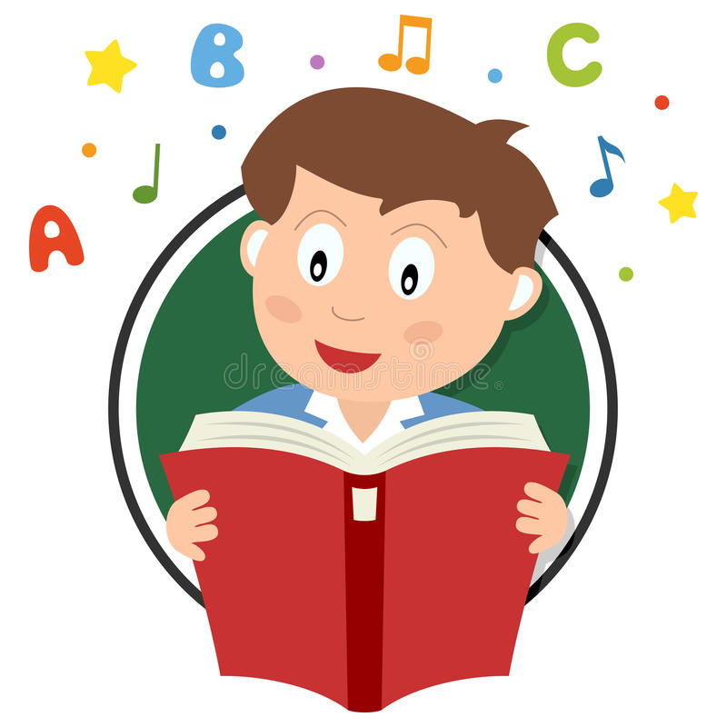 Logo della lettura del ragazzo di scuola illustrazione di stock