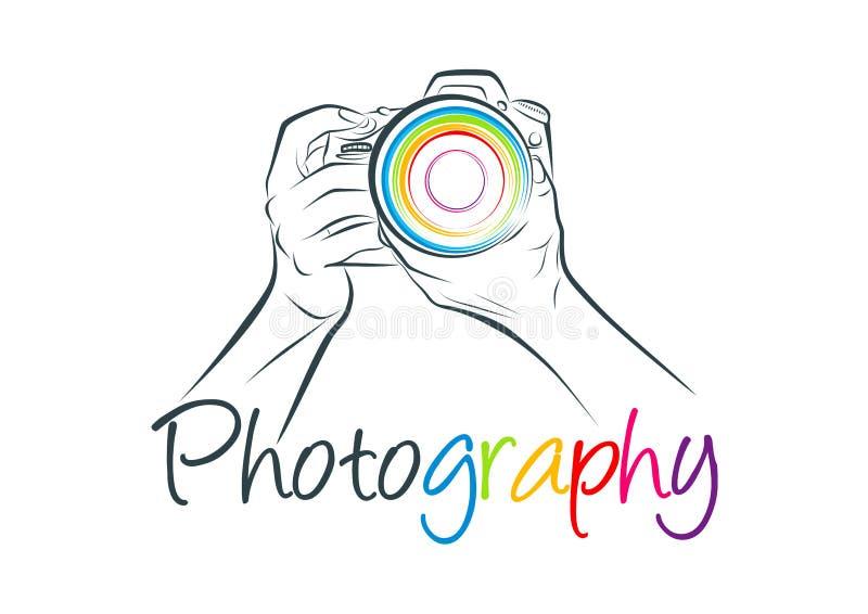Logo della macchina fotografica, progettazione di massima di fotografia illustrazione di stock