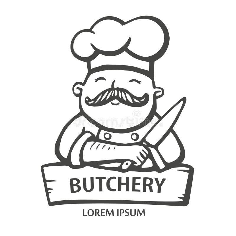 Logo della macelleria Illustrazione disegnata a mano di vettore del capo-fornello con i baffi e un coltello in un vestito bianco  illustrazione di stock