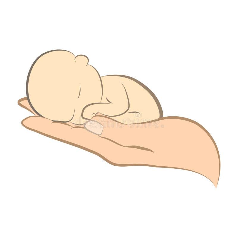 Logo della mano e del bambino e del bambino illustrazione di stock