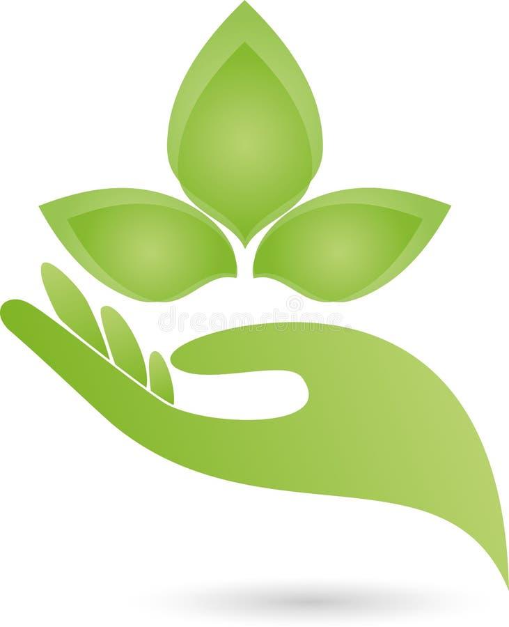 Logo della mano e delle foglie, della pianta, di benessere e della natura illustrazione vettoriale