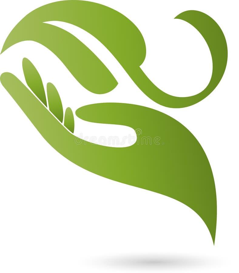 Logo della mano e della foglia, della pianta, di benessere e della natura royalty illustrazione gratis