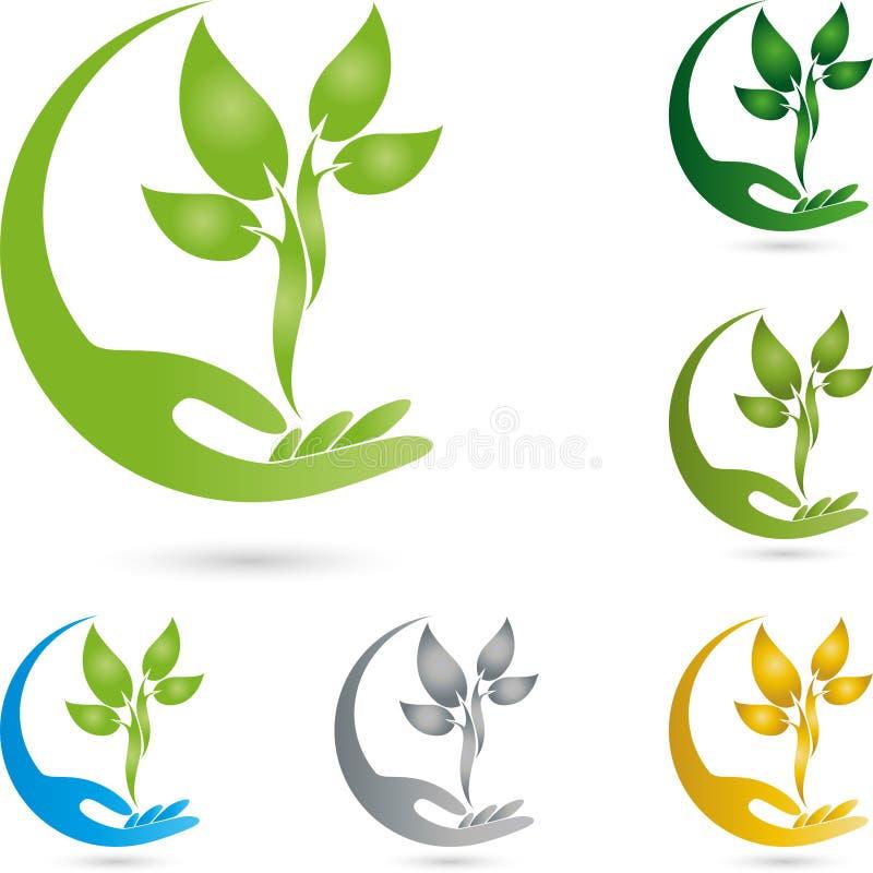 Logo della mano e della pianta, di benessere e del giardiniere illustrazione di stock