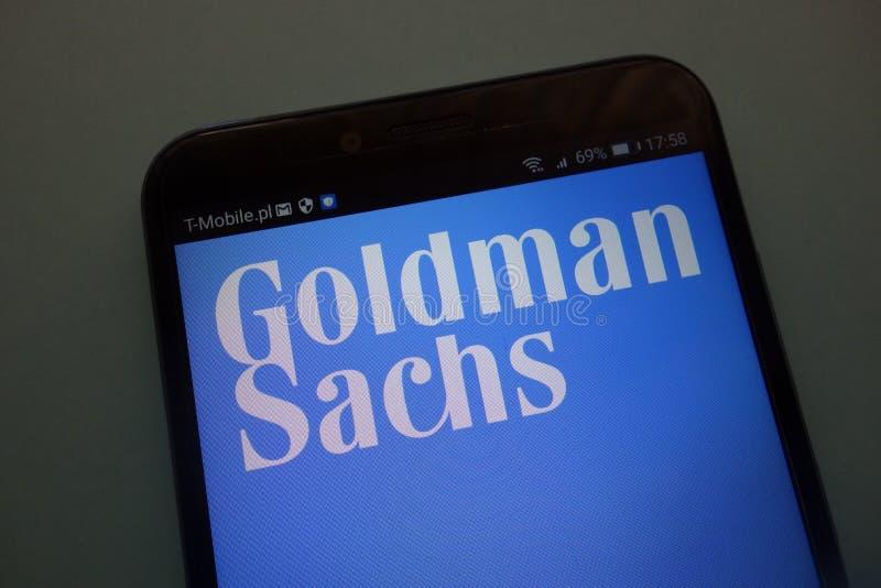 Logo della marca Goldman Sachs su uno smartphone moderno immagini stock