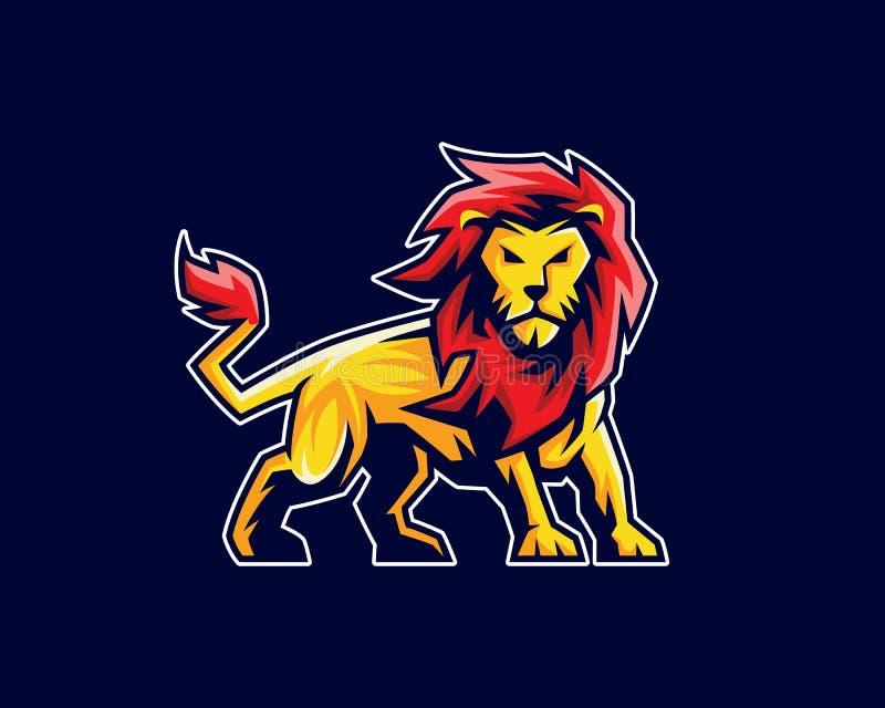 Logo della mascotte del leone, logo di sport, emblema o progettazione di carattere della cresta illustrazione di stock