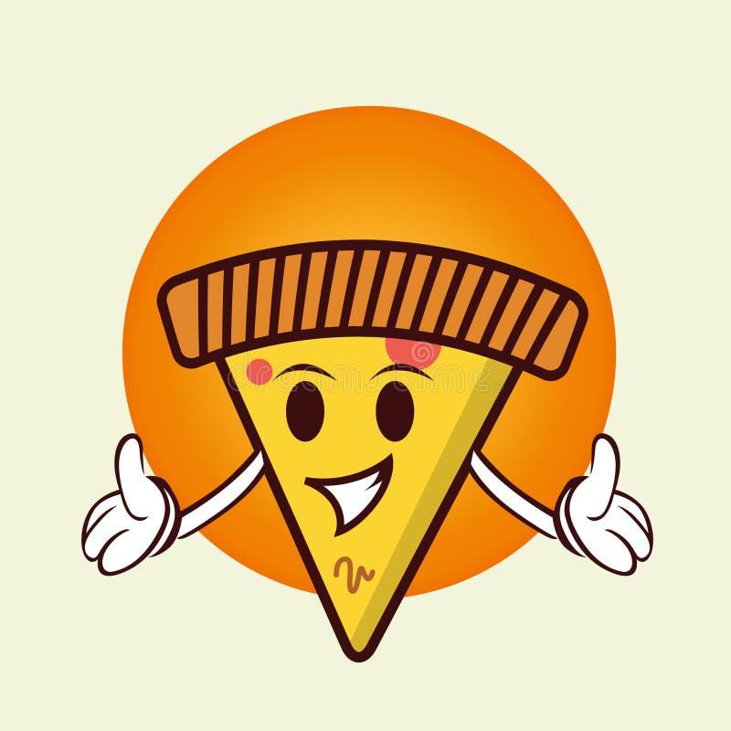 Logo della mascotte della pizza immagini stock