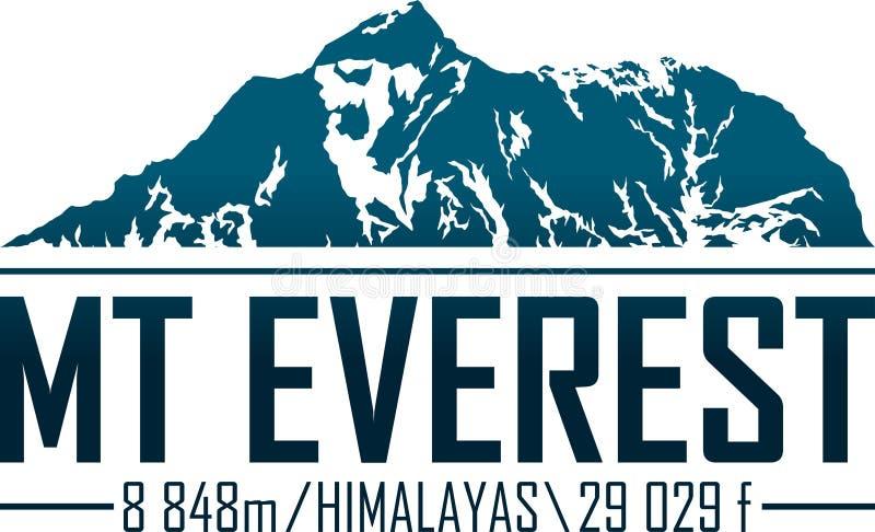 Logo della montagna di Ector Everest Emblema con più alto peack in mondo illustrazione vettoriale